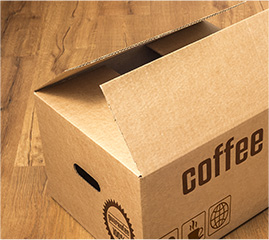 A box of Canterbury Coffee ready for distributors in Burnaby, BC