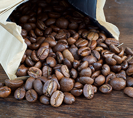 Silver private label bag and coffee beans from Canterbry Coffee, sold throughout Ontario