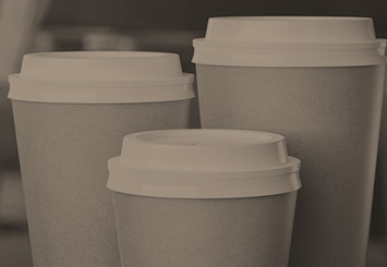 Karat disposable cups and lids in coffee shop
