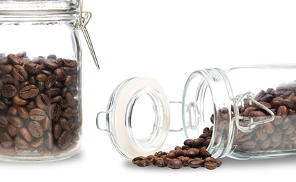 Two glass containers of Canterbury Coffee