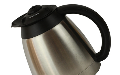 Stainless steel coffee pot filled with Canterbury Coffee