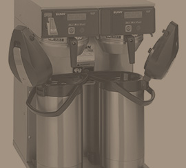 Bunn and Fetco commercial coffee brewers