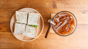Iced Coffee and Sandwich